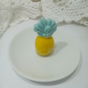 Pineapple Ring Trinket Dish Tray Porcelain